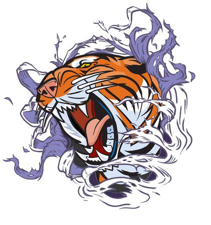 Cartoon Clip kunst illustratie van een brullende tijger hoofd rippen uit een gat in de achtergrond. Vector bestand is in lagen voor eenvoudige bewerking.