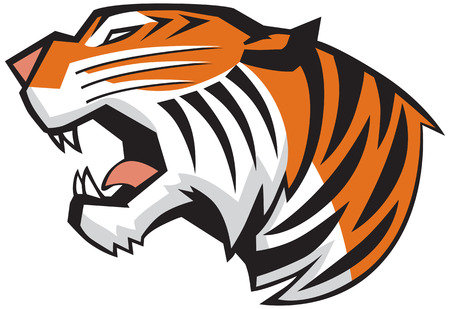 Vector Cartoon Clip Art Illustration of a roaring tiger head in a side view, rendered in a graphic style Vettoriali