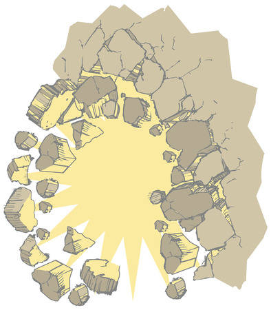 Vector clip art illustration of a wall exploding outward creating rubble or debris. Ideal for use as a customizable graphic element showing something breaking through a wall or background. File is layered for easy placement.