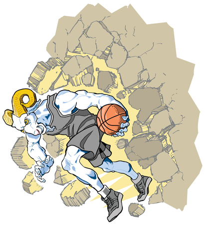 Cartoon vector clip art illustration of a charging bighorn sheep or ram basketball player mascot crashing through a wall. Character art is on a separate layer. Uniform can be changed to any color in vector file.