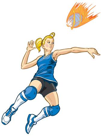 Meisje volleybal speler springen om spike een inkomende dienst die eruit ziet als een vuurbal. Deze vector illustraties illustratie is opgebouwd in lagen voor eenvoudige bewerking. Bal is op een aparte laag. Weergegeven in een comic book-stijl. Stock Illustratie
