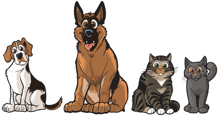Vector cartoon illustration clip art of a group of 2 dogs and 2 cats, A Beagle, German Shepherd, Tabby, and a Grey cat. Each pet is on a separate layer.