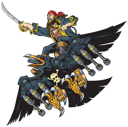 Vector Cartoon Illustration or Clip Art of A Pirate Riding A Robot Crow or Raven brandishing a sword or cutlass. Perfect for crazy over the top awesome concepts.