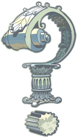 Vector Clip Art Illustration of a question mark rendered in a Roman or Greek column architecture style. Vector