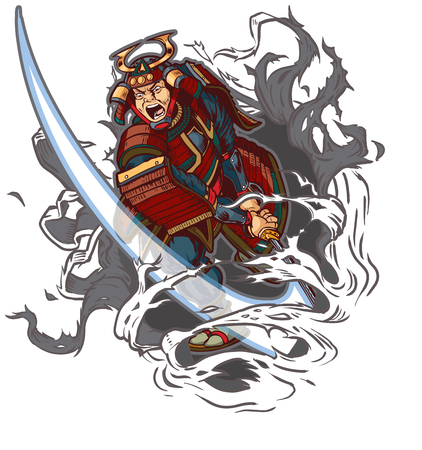 Vector cartoon clip art illustration of an angry or mean looking Samurai slashing through the background with his katana sword. File is in layers for easy customization.