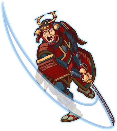 Vector cartoon clip art illustration of an angry or mean looking Samurai slashing with his katana sword. Ilustração