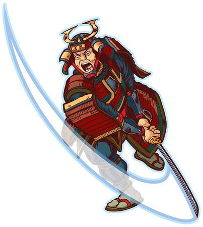 Vector cartoon clip art illustration of an angry or mean looking Samurai slashing with his katana sword. Stock Illustratie
