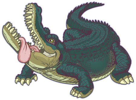 Funny vector cartoon clip art illustration of a big hungry alligator looking upward with his mouth open and tongue hanging out. Vector