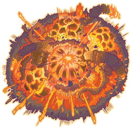 debris: Vector cartoon clip art illustration of an explosion with fireballs, smoke and flying debris.   Illustration