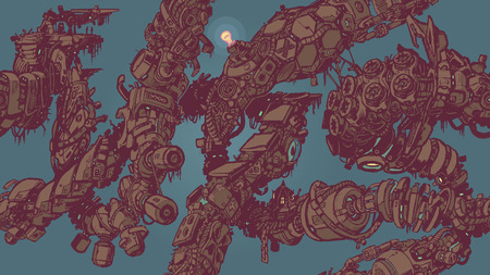 decaying: A seamless tiling or tessellating background pattern vector illustration, featuring intertwining vines or tentacles made of decaying anime style sci fi cyberpunk high tech junk. Good for wallpaper, backdrop, textile, etc. 1080 HD Dimensions!