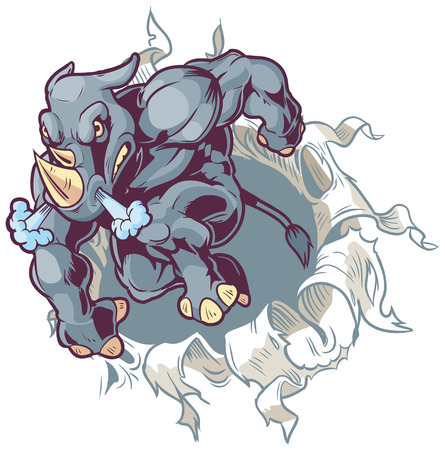 anthropomorphic: Vector Cartoon Clip Art Illustration of a Crouching Anthropomorphic Cartoon Mascot Rhino Ripping Through a Paper Background.