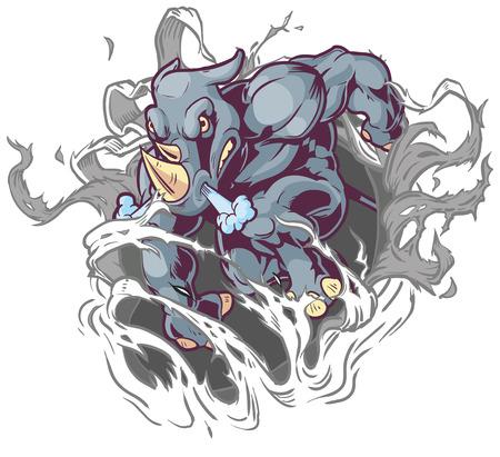 Vector Cartoon Clip Art Illustration of a Crouching Anthropomorphic Cartoon Mascot Rhino Ripping Through the Background.