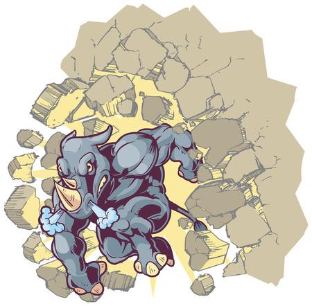 Vector Cartoon Clip Art Illustration of a Crouching Anthropomorphic Mascot Rhino Crashing through a wall. Vector
