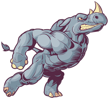 raging: Vector Cartoon Clip Art Illustration of an Anthropomorphic Mascot Rhino Charging to the Right