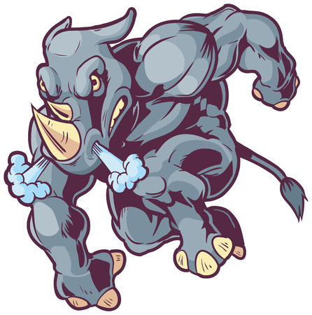 Vector Cartoon Clip Art Illustration of an Anthropomorphic Mascot Rhino Charging to the Left Ilustração