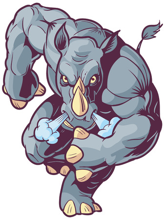 anthropomorphic: Vector Cartoon Clip Art Illustration of an Anthropomorphic Mascot Rhino or Rhinoceros Charging Foreward