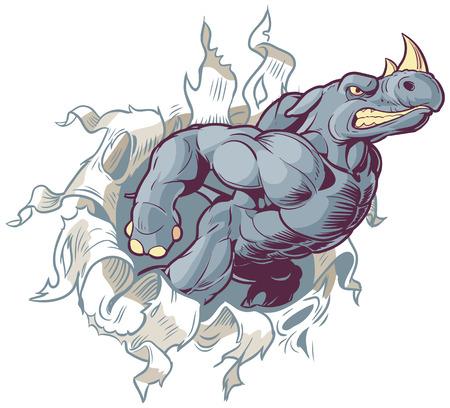 Vector Cartoon Clip Art Illustration of an Anthropomorphic Cartoon Mascot Rhino Ripping Through a Paper Background. Vettoriali
