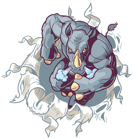 Vector Cartoon Clip Art Illustration of an Anthropomorphic Cartoon Mascot Rhino Ripping Through a Paper Background from a front view.