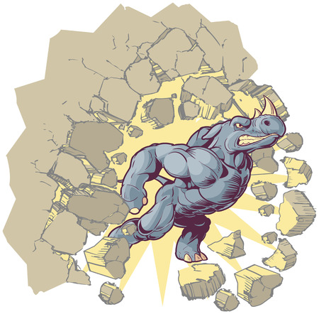 Vector Cartoon Clip Art Illustration of an Anthropomorphic Mascot Rhino Crashing through a wall. Vector