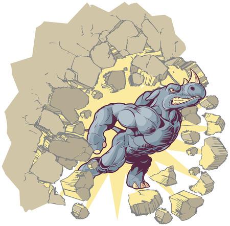 outward: Vector Cartoon Clip Art Illustration of an Anthropomorphic Mascot Rhino Crashing through a wall. Illustration