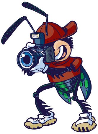 Vecteur Cartoon clip art illustration d'un bug d'obturation ou mascotte insectes tenant un appareil photo. Banque d'images - 39180607