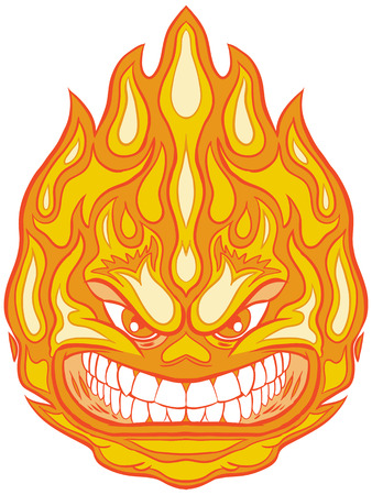 snarl: Vector Clip Art Cartoon Illustration of a Fireball Mascot with an Angry Face.