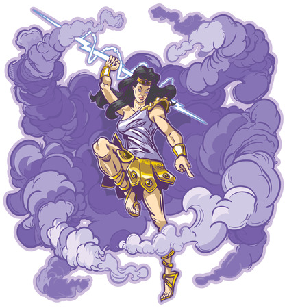 Vector clip art cartoon illustration of an angry female greek or roman thunder goddess or titan mascot, raising aloft a mighty thunderbolt to smite the unworthy. Cloud is on a separate layer. Ilustração