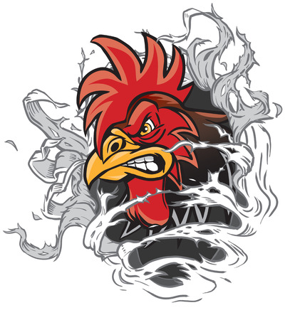 punch holes: Vector cartoon clip art illustration of a rooster or gamecock or chanticleer mascot head ripping through the background. Rooster head is on a separate layer for easy editing.