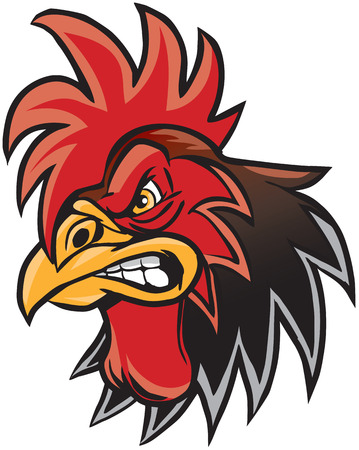 Vector cartoon clip art illustration of a rooster or gamecock or chanticleer mascot head. Ilustração
