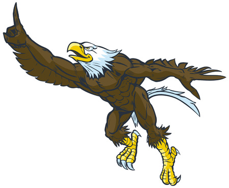 Vector cartoon clip art illustration of a tough muscular bald eagle mascot leaping or flying forward while throwing the number one hand gesture.