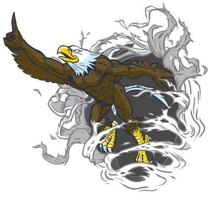 Vector cartoon clip art illustration of a tough muscular bald eagle mascot ripping out of the background while throwing the number one hand gesture. The eagle is on a separate layer in the vector file. 일러스트