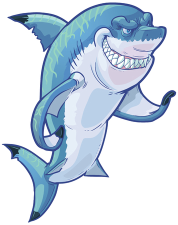 Vector cartoon clip art illustration of a tough mean smiling shark mascot gesturing with its pectoral fin. The caustic lighting stripes on the sharks back are on a separate layer in the vector file.