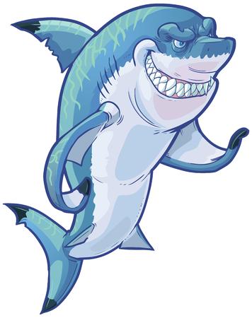 Vector cartoon illustratie van de klemkunst van een moeilijke gemiddelde lachende haai mascotte gebaren met zijn borstvin. De bijtende verlichting strepen op de rug van de haai op een aparte laag in de vector-bestand. Stock Illustratie