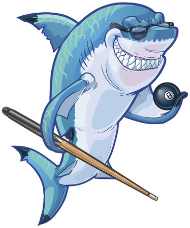 Vector cartoon clip art illustration of a tough mean smiling shark mascot wearing sunglasses and holding an eight ball and pool cue. Accessories are on a separate layer in the vector file. Illustration