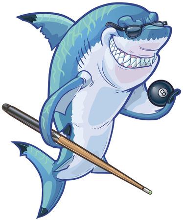 Vector cartoon clip art illustration d'un moyen sourire difficile requin mascotte des lunettes de soleil et tenant un ballon huit et queue de billard. Les accessoires sont sur un calque séparé dans le fichier vectoriel.