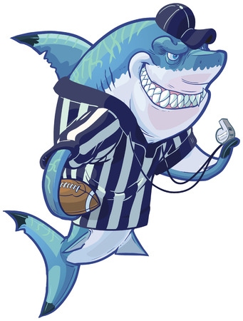 Vector cartoon clip art illustration of a tough mean smiling shark mascot wearing a referee shirt and hat while holding a football and whistle. Accessories are on a separate layer in the vector file.