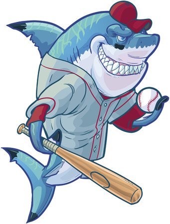 Vector cartoon clip art illustration of a tough mean smiling shark mascot wearing a baseball shirt and hat while holding a bat and ball. Accessories are on a separate layer in the vector file.
