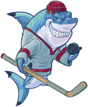 サメ マスコットのスティックとパックを押しながらホッケー ジャージとヘルメット身に着けている笑みを浮かべてタフな意味のベクトル漫画クリッ
