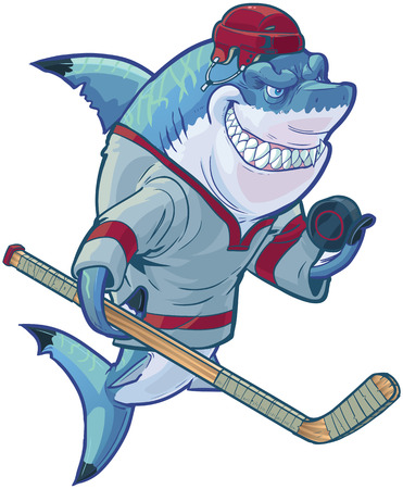 Vector cartoon clip art illustration of a tough mean smiling shark mascot wearing a hockey jersey and helmet while holding a stick and puck. Customizable accessories are on a separate layer in the vector file. Illustration