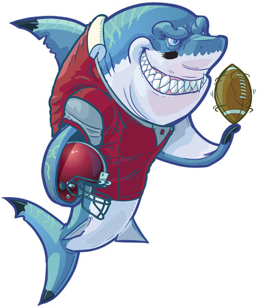 Vector cartoon clip art illustration of a tough mean smiling shark mascot wearing a football uniform and pads while holding a helmet and football. Customizable accessories are on a separate layer in the vector file. Illustration