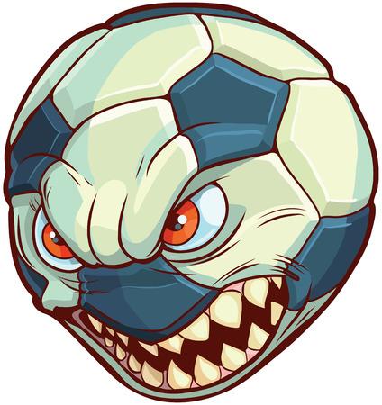 cartoon clip art illustratie van een voetbal of voetbal met een gemiddelde gezicht met rode ogen en scherpe tanden