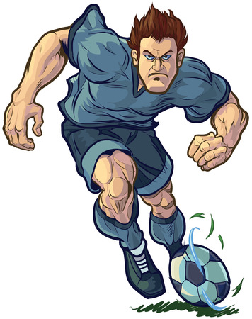 Vector cartoon clip art illustration of a tough, mean, determined soccer or football player dribbling the ball forward. Color and Uniform elements are on separate layers in vector file for easy custom changes.