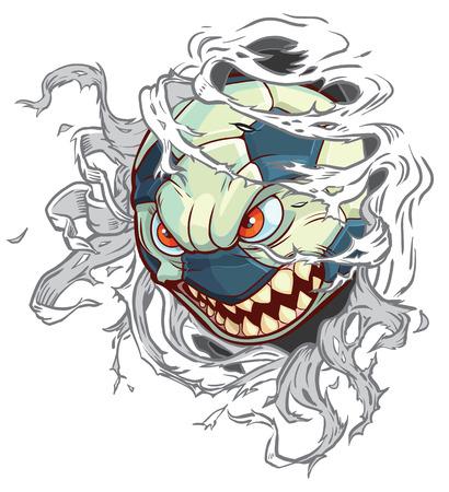 Vector cartoon illustraties illustratie van een gemiddelde boos monster voetbal of voetbal scheuren door de achtergrond. Karakter is op een aparte laag in de vector-bestand voor eenvoudig aangepaste veranderingen.