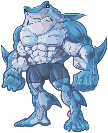 Vector cartoon clip art illustration of a muscular, tough, and mean looking anthropomorphic half shark, half man hybrid creature.