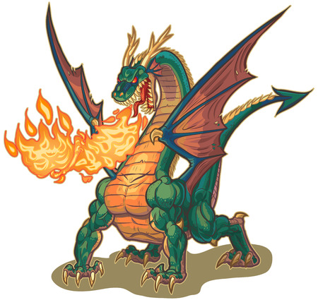 Vector cartoon clip art illustration of a muscular dragon mascot breathing fire with wings spread. The fire is on a separate layer for easy editing. Ilustracja