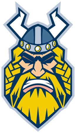 Vector Cartoon Clip Art Illustratie van een Viking mascotte hoofd in een vooraanzicht, weergegeven in een grafische stijl Stock Illustratie