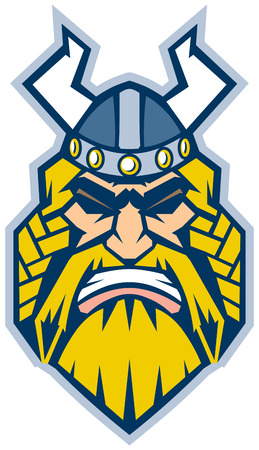 hostile: Vector Cartoon Clip Art Illustration of a Viking mascot head in a front view, rendered in a graphic style