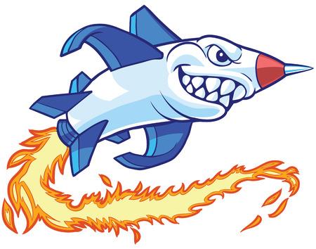 brandweer cartoon: cartoon illustraties illustratie van een antropomorfe raket of raket mascotte met een haai mond.