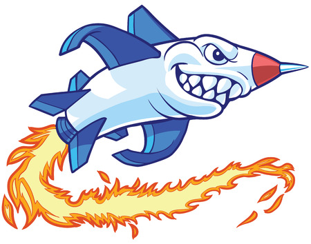 cartoon clip art illustration of an anthropomorphic rocket or missile mascot with a shark mouth.  Illustration