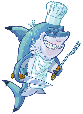 cartoon clip art illustration of a tough mean smiling shark wearing a chef